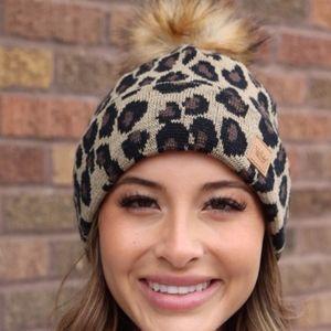 Leopard Print Pom Beanie